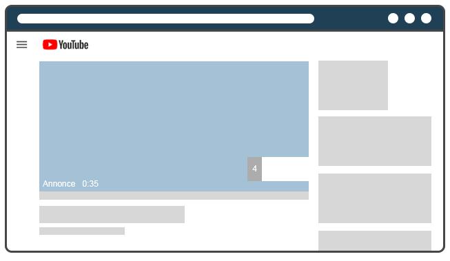 Publicité vidéo Youtube désactivable